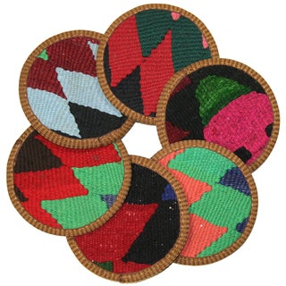 Rug & Relic Kilim Coasters, Salihli - 6 For Sale