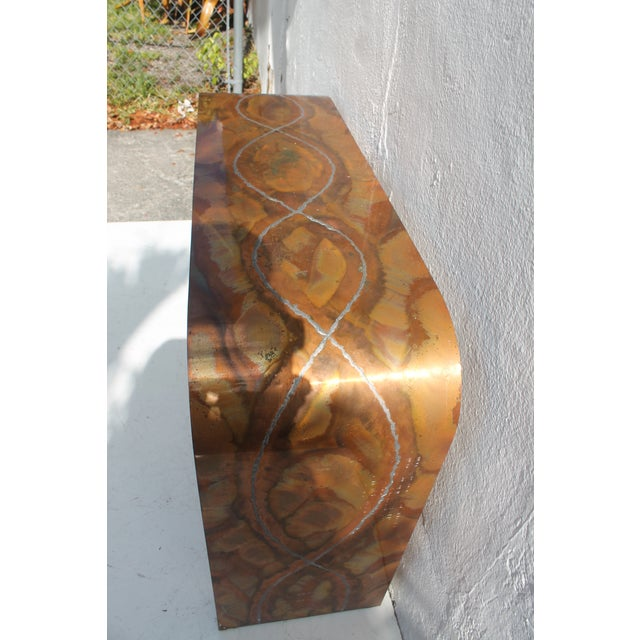 Paul Evans Style Waterfall Copper Console Table For Sale - Image 11 of 11