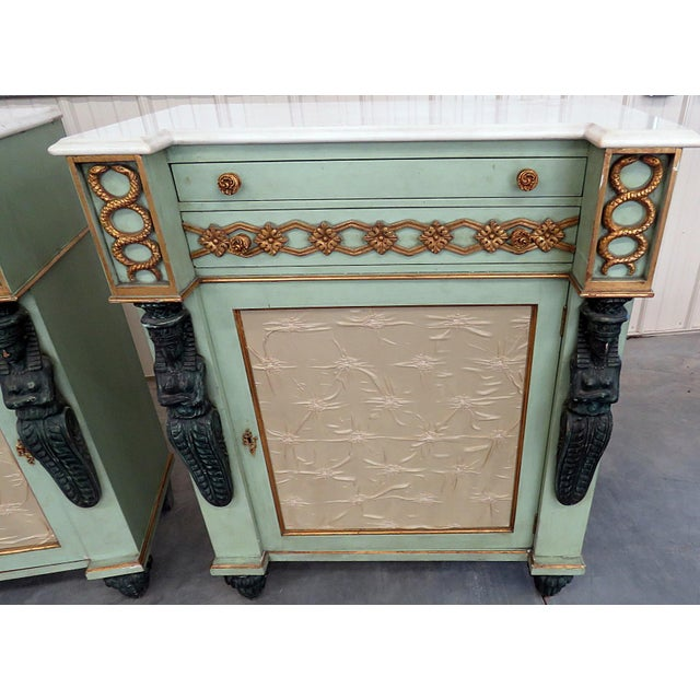 Early 20th Century Pair of Marble Top Empire Style Commodes For Sale - Image 5 of 10