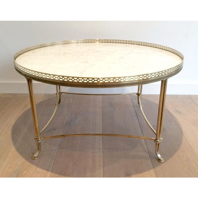 Mid Century Brass Cocktail Table with White Marble Gallery Top