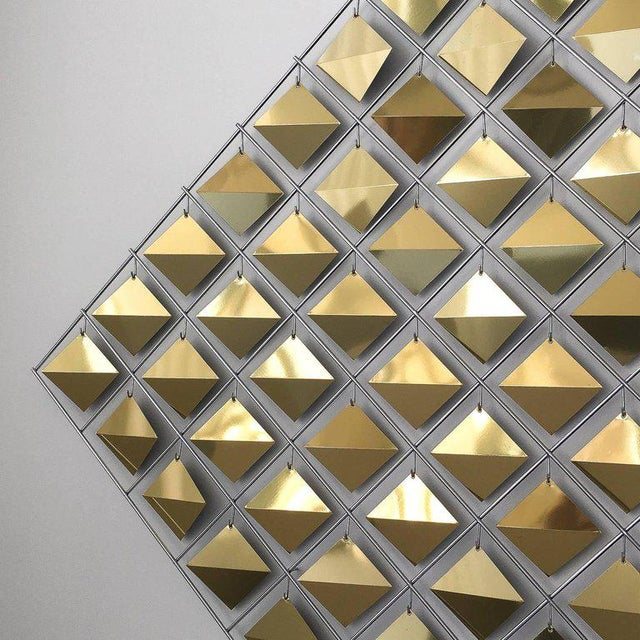 1980s Curtis Jere Brass Diamond Kinetic Wall Sculpture For Sale - Image 5 of 9