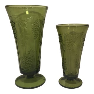 1960s Vintage Indiana Glass Green Grape Trumpet Vases - A Pair For Sale