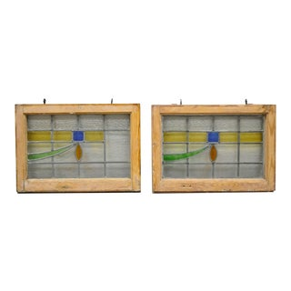 Antique Art Deco Leaded Stained Glass-a Pair For Sale