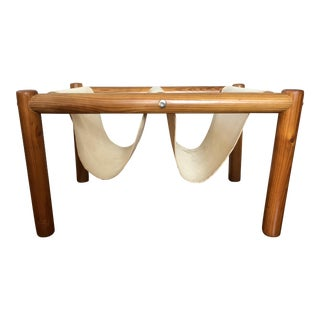 Vintage Wood Canvas Sling Firewood Holder For Sale