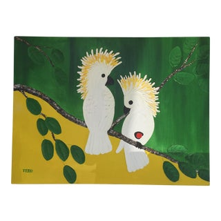 """Two Cockatoos "" Tropical Painting For Sale"