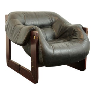 1970s Percival Lafer Rosewood and Leather Lounge Chair For Sale