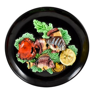 Vallauris French Provençal Palissy Trompe L'oeil Seafood & Lemon Wall Plate For Sale