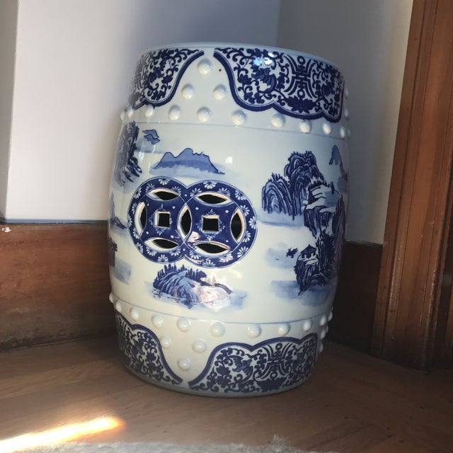 Blue Vintage Chinese Blue & White Porcelain Garden Stool For Sale - Image 8 of 8