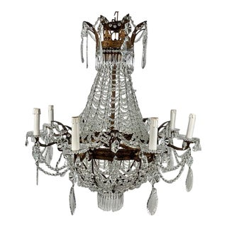 Vintage 1930s Empire 8 Light Chandelier With Crystals For Sale