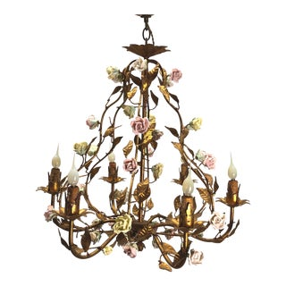 20th Century Italian Tole and Porcelain Chandelier For Sale