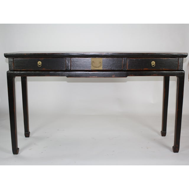 Antique Asian Black Lacquer Three Drawer Console For Sale - Image 4 of 7