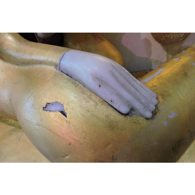 Anonymous Reclining Alabaster Gilded Inwa For Sale - Image 4 of 5