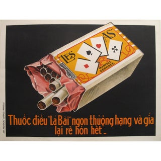 1915 Vietnamese Cigarette Poster, La Bai / Les As For Sale