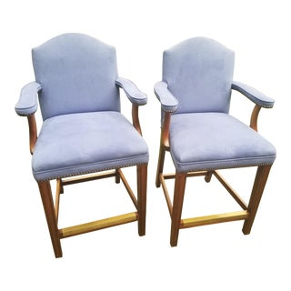 Kreiss Rousseau Style Nail Head Palm Beach Tradional Dining Bar Stools- a Pair For Sale