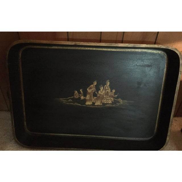 Black Vintage Chinoiserie Hand Painted Wooden Rectangle Tray Table For Sale - Image 8 of 13