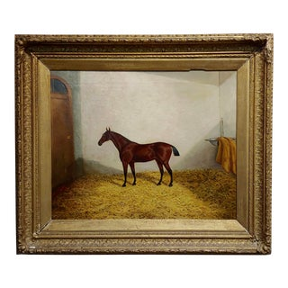 """19th Century """"Race Horse in His Stall"""" Oil Painting by James Clark For Sale"""