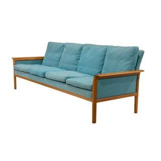 1960s Vintage Hans Olson Peacock Blue Wool Sofa For Sale