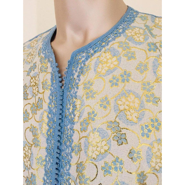 Metallic Blue and Silver Brocade 1970s Maxi Dress Caftan, Evening Gown Kaftan For Sale - Image 10 of 13