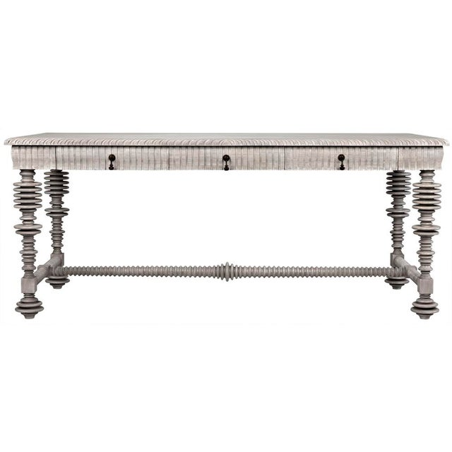 Contemporary Portuguese Desk, Distressed Grey For Sale - Image 3 of 3