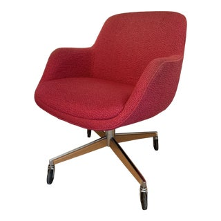 1970's Steelcase Mid-Century Red Swivel Barrel Chair For Sale