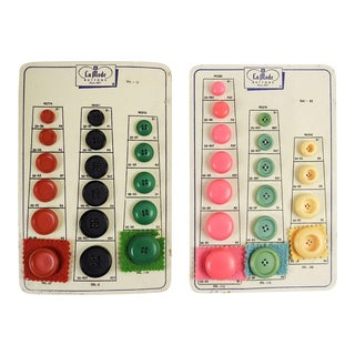 Colorful 1950's Button Sample Cards - a Pair For Sale