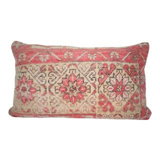 Vintage Oushak Rug Pillow Cover, Rustic Farmhouse Decor, Tribal Lumbar Cushion Cover 16'' X28'' (40 X 70 Cm) For Sale