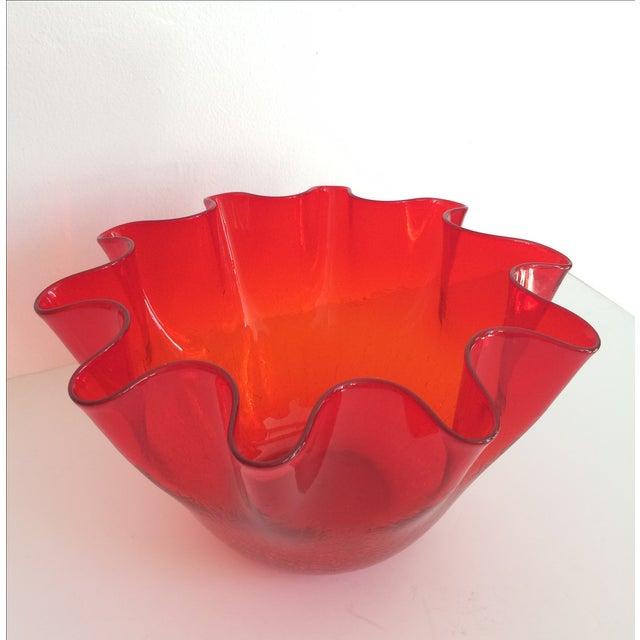 Vintage Red Blenko Crackle Glass Vase - Image 3 of 11