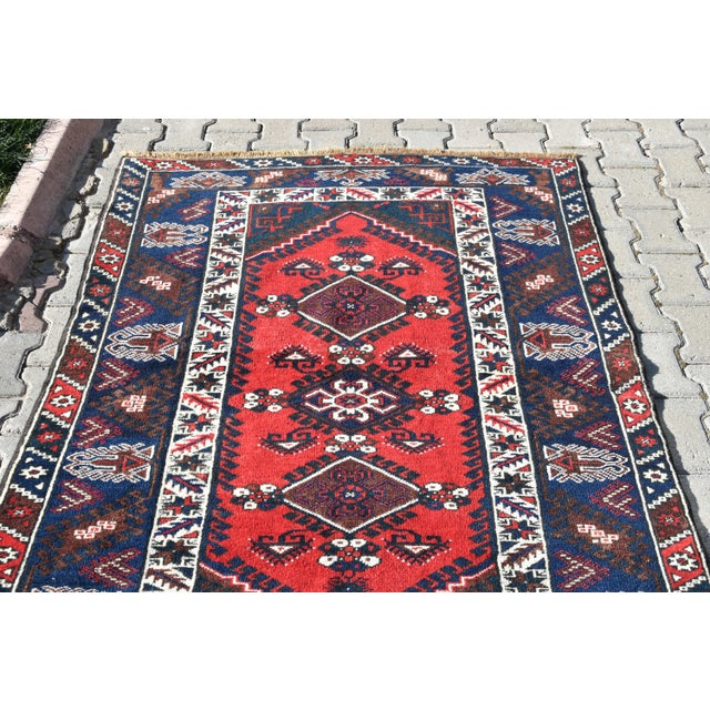 Blue 1980s Turkish Oushak Aztec Anatolian Tribal Hand Knotted Wool Carpet For Sale - Image 8 of 12