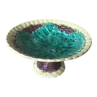 Late 19th Century Majolica Cake Plate / Compote Serving Piece For Sale