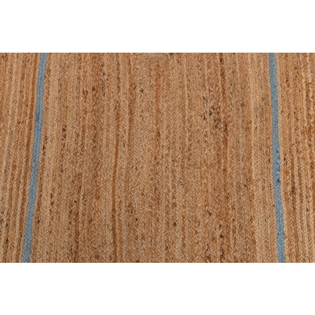 Blue Scallop Jute Classic Blue Hand Made Rug - 2.6'x5' For Sale - Image 8 of 9