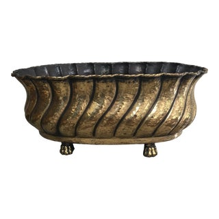 Vintage Mid-Century Italian Hammered Brass Planter For Sale
