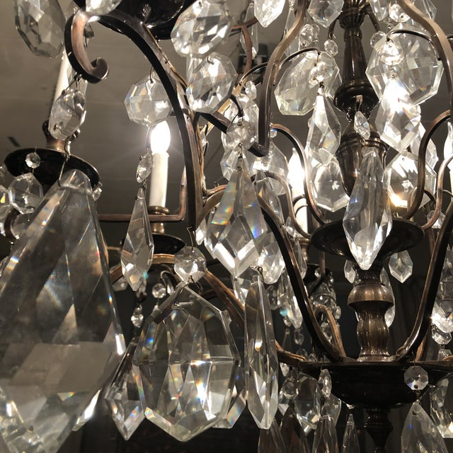 1930s Vintage Fabulous Lead Crystal 8 Light Chandelier For Sale - Image 9 of 12