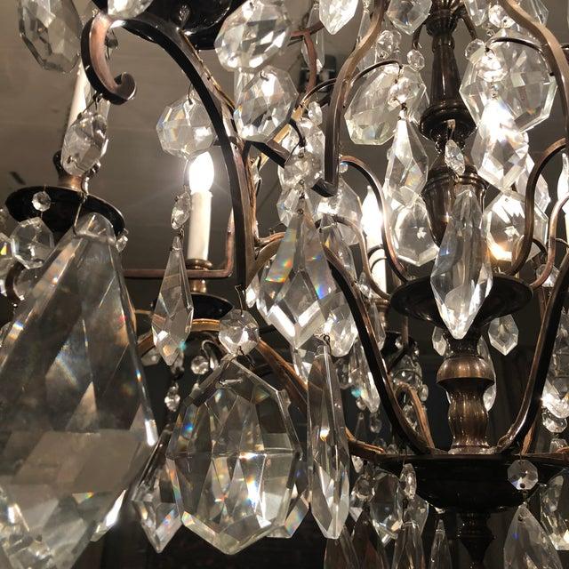 1930s Vintage Lead Crystal 8 Light Chandelier For Sale - Image 9 of 12