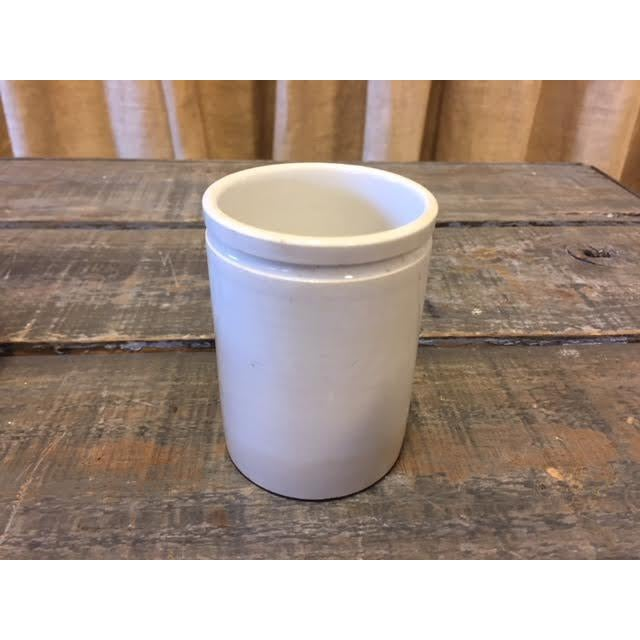 Vintage French White Cream Jar For Sale - Image 4 of 8