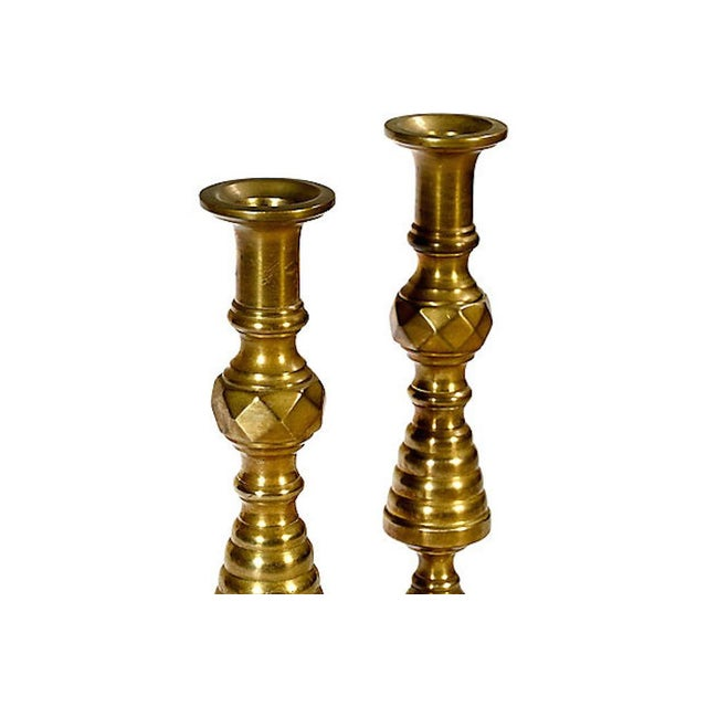 Americana Early 20th C. Brass Candleholders, Pair For Sale - Image 3 of 5