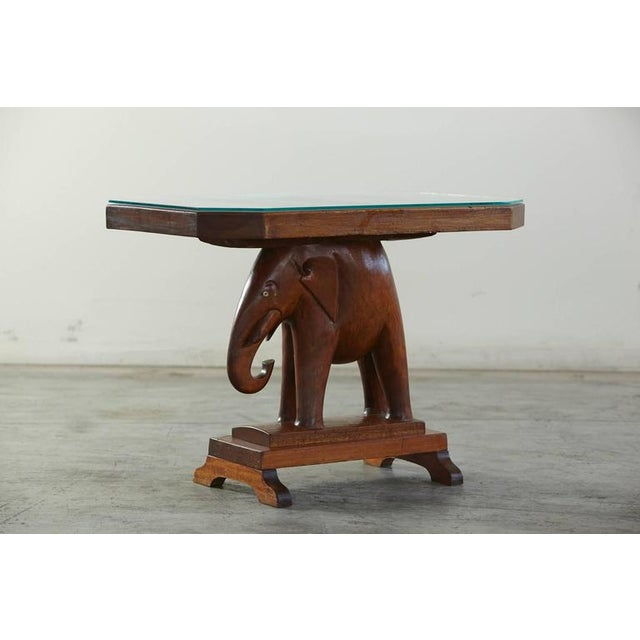 1940s Rare Mahogany Table with Carved Elephant Base with Roosevelt History For Sale - Image 5 of 7