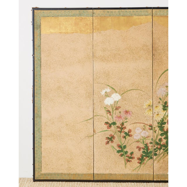 Japanese Japanese Six Panel Meiji Screen Chrysanthemums and Waterfall For Sale - Image 3 of 13