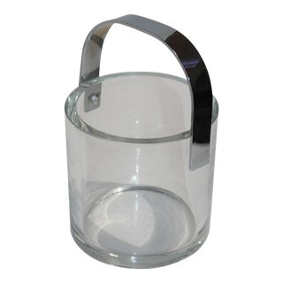 Minimalist Italian Ice Bucket Crystal and Nickel Plate - Movable Handle Can Stand Up For Sale