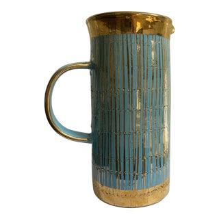 Mid 20th Century Mid Century Modern Italian Turquoise and Gold Pitcher/Vase For Sale