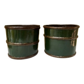 Antique Chinese Wood & Green Lacquer Buckets - Set of 2 For Sale