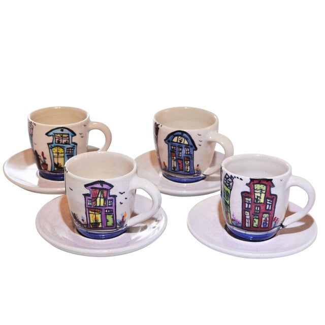 Dutch Canal Home Design Handmade Espresso Cups With Saucers - Set of 4 For Sale