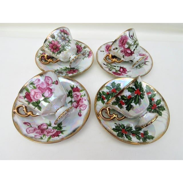 1960s Japanese Lusterware Flower of the Month Demitasse Cups and Saucers - Set of 4 For Sale - Image 12 of 12