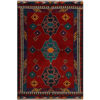 1990s Southwestern Balouchi Francisc Red/Blue Wool Rug - 3'5 X 5'1 For Sale