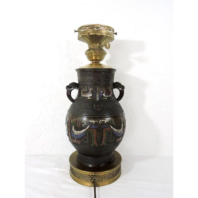 Metal Antique Japanese Archaic Bronze & Multi Coloured Cloisonné Elephant Handled Table Lamp For Sale - Image 7 of 9