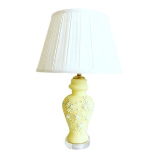 Mid-Century Moriage Lamp & Shade For Sale
