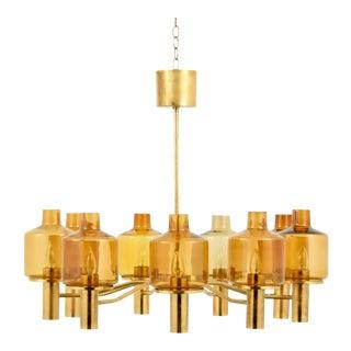 Large Vintage Hans-Agne Jakobsson 9-Arm Brass Chandelier For Sale