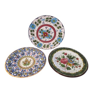 Vintage European Pottery Display Plates - Set of 3 For Sale