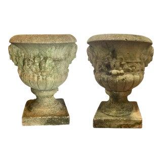 Large Traditional Antique 1920's Concrete Planters - A Pair For Sale