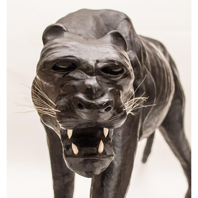 Mid 20th Century Mid-Century Large Black Leather Panther Sculpture For Sale - Image 5 of 12