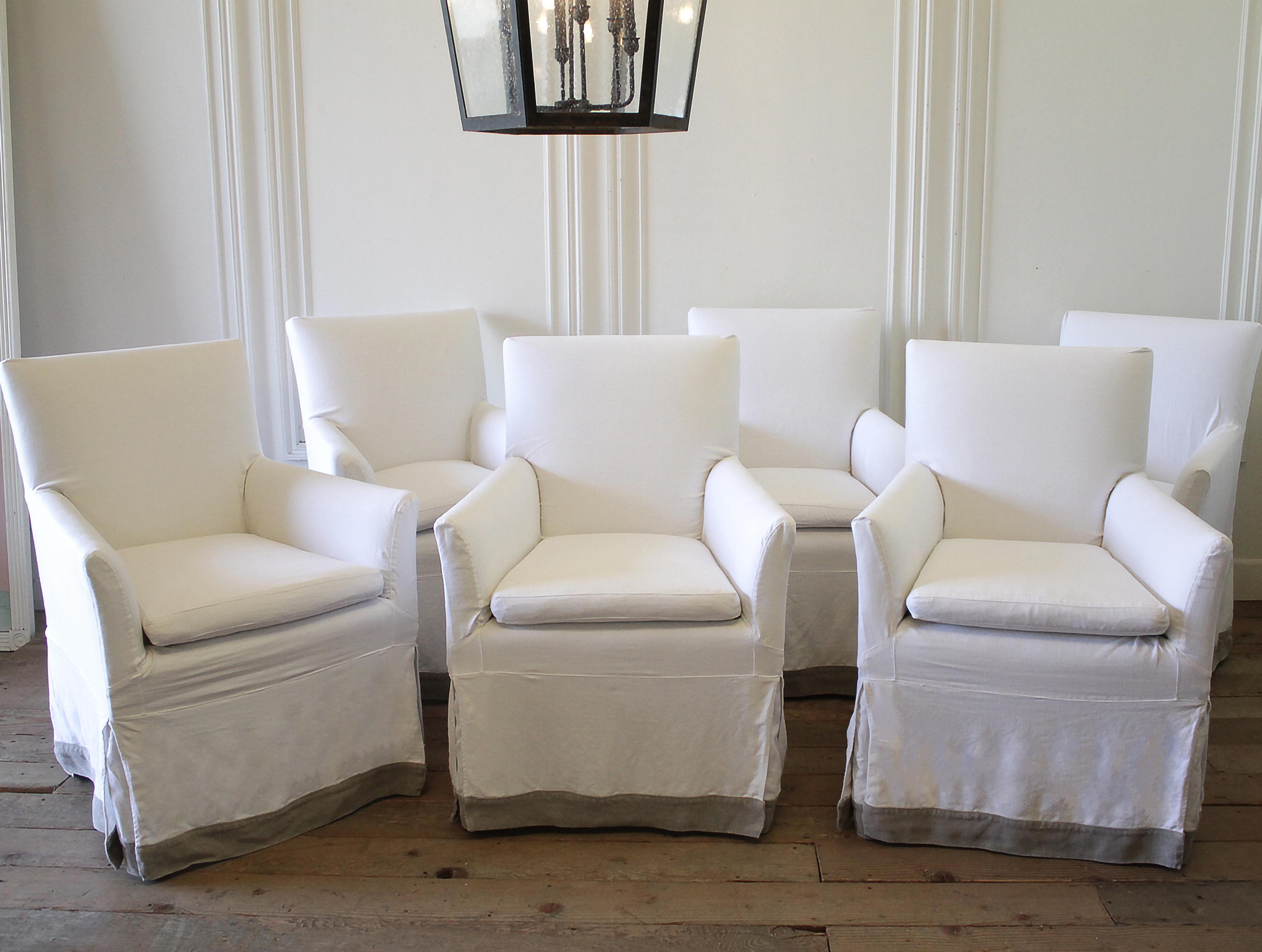 Set Of 6 Linen Slip Covered Arm Chairs Set Of 6 Canvas Upholstered Arm  Chairs,